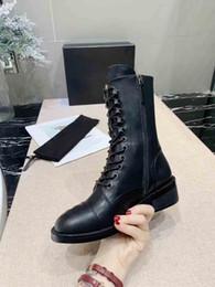 Cravate en Ligne-2019 nouvelles bottes de loisirs Star, bottes à cravate zippées de designer, bottes super luxe mi-automne et hiver, bottes à nouer en cuir de vachette, taille: 35-40