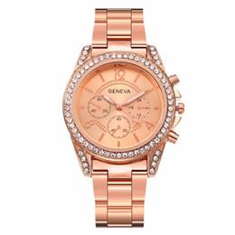 Relógio de liga de strass genebra on-line-Venda quente Mulheres Rose Gold Rhinestone Genebra Assista Feminino Liga de Aço Inoxidável Relógio de Quartzo Para Dropshipping Relógio