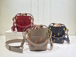 ribbon embroidery hand bags Promo Codes - Embroidered pony bucket bag hand shoulder shoulder diagonal package mini handbag leather hoop bag leather Korean bag