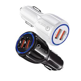 iphone multi carregador cabo Desconto Carregador de carro QC3.0 Para carregador de carro Celular Dual USB rápida carga 3.0 carregamento rápido adaptador Mini carro carregador de telefone USB