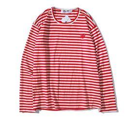 Das langärmlige T-Shirt der meistverkauften Männer klassische Straßenmodebaumwolle streifte langärmliges P L A Y rotes Herz wildes T-Shirt freies Verschiffen von Fabrikanten