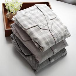 pantalons en duvet pour hommes Promotion 2019 Automne Mâle plus la taille pijamas Hommes Casual Plaid Pyjamas définit Hommes Turn-down col chemise pantalon 100% coton vêtements de nuit sui