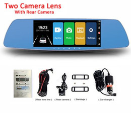 rückspiegel dual monitor Rabatt 7 Zoll Touchscreen Auto DVR Doppelobjektivkamera Rückspiegel Videorecorder Dash Cam Auto Kamera Tragbarer Recorder
