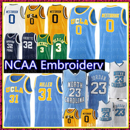 maglia a buon mercato s Sconti UCLA Russell 0 Westbrook Reggie 31 Miller jersey MJ 23 Michael carolina Pullover di pallacanestro Commercio all'ingrosso a buon mercato