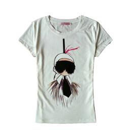 Buone t-shirt bianche online-Nero bianco Hot Cartoon di buona qualità T Shirt Donna Camicie Design di marca Confortevole Applique a maniche corte in cotone Top femminile