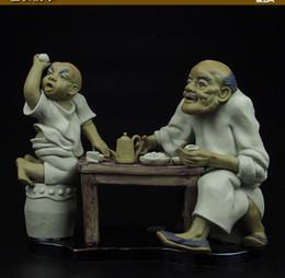 Cerâmica velha on-line-10''chinese cerâmica cerâmica pintura de artesanato esculpidos homem e bebida menino chá de idade