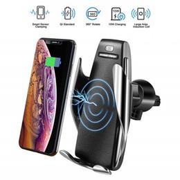 2019 telefone de diagnóstico S5 Carregador de Carro Sem Fio Automático de Fixação Para iphone Android Ventilação Do Telefone Suporte de Telefone 360 Graus de Rotação 10 W Carregamento Rápido com caixa