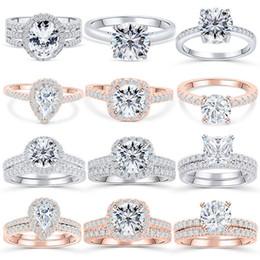 dimond hochzeit ringe Rabatt S925 Steriling Silber Ringe Hochzeit Schmuck Zirkonia Ringe Diamant Ehering für Frau Luxus Design