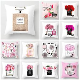 Garrafas de perfume pintadas on-line-Fronha 45x45cm Flores pintados mão das garrafas de perfume caso capa de almofada sofá travesseiro macio super Início Pillowcase decorativo