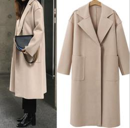 abrigo largo camel Rebajas Lana mujer invierno de los abrigos largos de la capa 2019 de Corea Moda Vintage Camel señoras del otoño Coats elegante casual mujeres Outwear