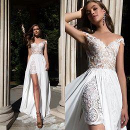 04f3308dc vestidos de hombro de recepción Rebajas 2019 nuevos vestidos de boda de  gasa de encaje de