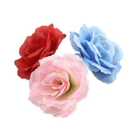 Buquês de flores de seda em massa on-line-10pcs Rose Artificial cabeças de flor de seda massa Wedding Party Falso Bouquet Decor TJM9163