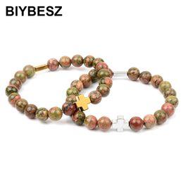 Каменные кресты ручной работы онлайн-Natural Natural Unakite Stone  Bracelet Charm Gold Silver Cross Hematite Handmade Lucky Gift Bracelets & Bangles