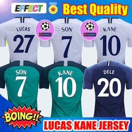 Jerseys de fútbol conjuntos online-2018 Tottenham hotspur Soccer Jersey KANE Spurs camisetas de fútbol 2019 DEMBELE ERIKSEN DELE SON Jersey 18/19 kits de camisetas de fútbol Mejor calidad para niños Parches gratis Soccer Jerseys
