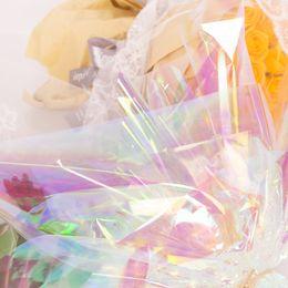 Papel de embrulho de maçãs on-line-50x50cm colorido arco-íris filme florista papel de embrulho caixa de presente de maçã de natal papel de material de embalagem