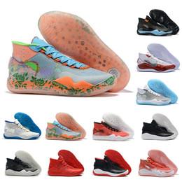 2019 kd shoes para hombre negro KD 12 Zapatillas de baloncesto 12s Kevin Durant XII Entrenadores para hombre Playoff All Red Triple Negro Camuflaje Zapatillas deportivas Hombre Diseñador Zapatillas de deporte us 7-12 kd shoes para hombre negro baratos