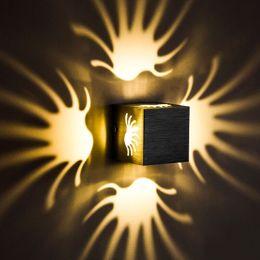 2019 apliques de parede originais 100% Alumínio Original 8 cm Cúbico 4 direção Levou Lâmpada de Parede Para Casa Decoração Iluminação RGB Cor Com Lâmpadas de Estilo de Moda Moderna KTV BAR desconto apliques de parede originais
