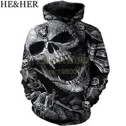 Sweat à capuche tête de mort hip hop en Ligne-Nouveau mode Oakland Raider Hoodies hommes / femmes sweat à capuche cool Skull Imprimé 3d pull à capuche hip hop streetwear tops