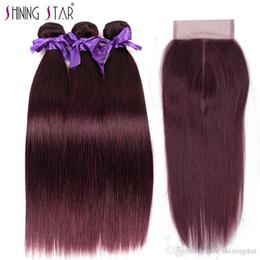 Argentina Cabello liso brasileño 3 paquetes con cierre de encaje Shining Star de alta calidad púrpura rojo 99J Borgoña para mujer negra Suministro