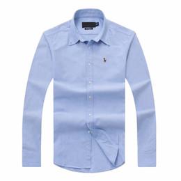 2019 justin bieber pulsanti Camicia Oxford in forma sociale moda maschile camicie POLO sottile abbigliamento di marca sociale maschile a righe camicia a maniche lunghe casuale