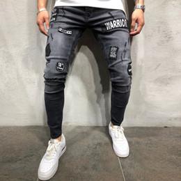 harem rasgado jeans homens Desconto 2019 dos homens Stretchy rasgado Skinny Biker Jeans Destruído Slim Fit Denim Calças Dos Homens Cintura Elástica Harem Pants Calças de Brim Dos Homens