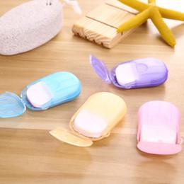 Mini jabones online-Gadgets al aire libre 20pcs portátil de papel desechables Jabón Jabón Mini jabón perfumado de papel al aire libre Herramientas Hojas de diapositivas que hace espuma para acampar ZZA996
