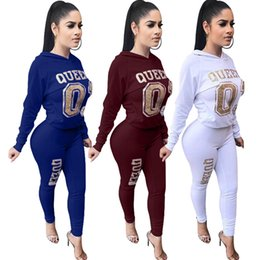 golden women pants Promo Codes - Women Golden Letter Printed Suits Casual 2pcs Pants Solid Color Clothing Hooded Sects Fashion Apparel