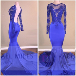 Billig sexy plus größe tops online-2019 African Günstige Sheer Royal Blue Prom Kleider Mermaid Lace Appliques Top Sexy Open Back Abend Promi Anlass Kleider Plus Größe BA6267