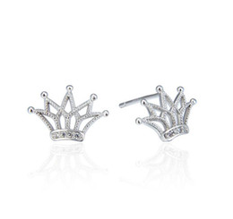 New Crown Studs Real 925 Sterling Silver CZ diamante simulato Zirconia orecchini coreano gioielli orecchino all'ingrosso da orecchini del diamante all'ingrosso fornitori