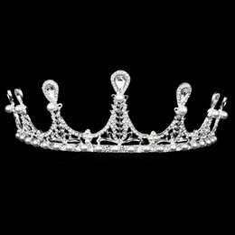 indian tiara crown Canada - Wholesale Pageant Crowns Bridal hair  Accessories Pearl Crown f5cd31ddfcbf