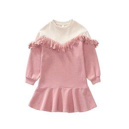 vêtements en gros pour adolescents Promotion Adolescent 2019 nouveaux enfants Bébé Automne tricot dentelle Ruffles robes, filles douce princesse vêtements en dentelle 6 pièces / lot, gros