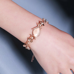 2019 pulsera de oro coreano Nueva corea creativa mano adornos mujeres Opal pulsera de eslabón de la cadena para las mujeres tendencia deslumbrante hojas de ópalo de oro rosa pulsera regalo pulsera de oro coreano baratos