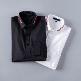 2019 canottiere di lana Fashion Brand primavera e autunno uomo a maniche lunghe in cotone Nero camicia bianca puro maschio Camicie Casual Top Camicetta plus size 3XL