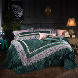 Seda esmeralda online-Nuevo juego de cama de 4 piezas de algodón de seda de estilo americano para el hogar, juego de sábanas de esmeralda, sábana, ropa de cama de textiles para el hogar