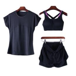 Deutschland 2018 sommer 3 stück sportbekleidung für frauen elastische sport stoff jogging anzüge t-shirt + bh + shorts laufen fitness yoga clothing # 265638 cheap denim spandex fabric Versorgung