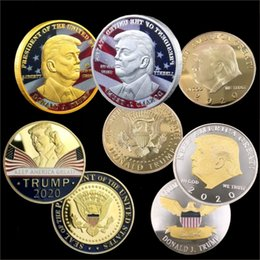 gift box packages Coupons - 2020 New Trump Commemorative Coin US President's avatar collection gold coin silver coin Trump avatar Not fade Acrylic packaging 4 styles.