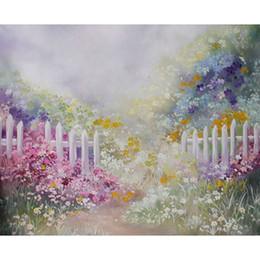 jardim de fundo de fotos Desconto Impressão de vinil Fundo de Óleo Impressão Floral Flores Sonho Jardim Cerca Branca Bebê Aniversário Crianças Pano de Fundo Estúdio de Fotografia