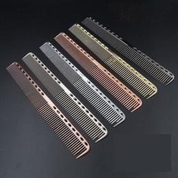 2019 brosse humide originale Aluminium Métal Peigne De Coupe - Coiffure De Cheveux Barbiers Salon Peigne Hommes Femmes Professional Hairbrush Gold Balck Silver