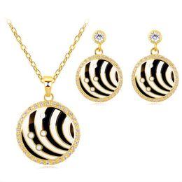 jóias zebra Desconto Leopardo Zebra Design Zircon Rodada Esmalte Jóias Set
