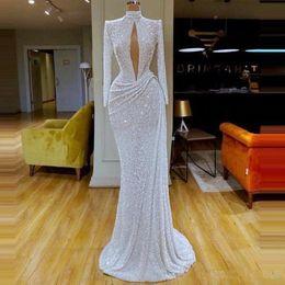 2019 vestido de baile de sereia turquesa tulle Decote com pequena abertura lantejoulas Prom Vestidos alta Long Neck Sleeve drapeado Mermaid Evening vestidos de Formal Wear vestido de festa vestidos de noite