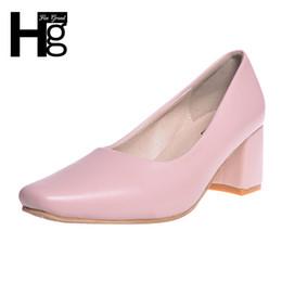 Дизайнерские туфли HEE GRAND Vintage женские туфли на высоком каблуке Fashion Square Toe Med Толстый каблук Пряжка закрыта для работы Дамы WXG427 от