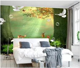 Fiabe murale online-All'ingrosso-murales-personalizzati 3d sfondi home decor Foto wall paper La più bella fata pittura a olio foresta TV sfondo muro