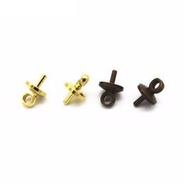 Cuentas de bronce de 8 mm. online-100 UNIDS 5mm 8mm Oro Antiguo Bronce Tono de Plata Conector Bail Cup Cap Bead Cap Grano DIY Joyas Resultados