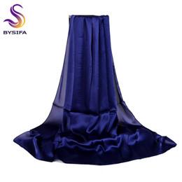 Bufanda azul marino online-Damas Llanura bufanda de seda Chal Azul marino Nuevo otoño del resorte elegante larga sólida bufandas satén de las mujeres de playa del verano Encubrimientos