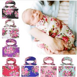 Muster baby decken online-2019 Neugeborenes Baby Wickeldecken Bunny Ear Stirnbänder Set Swaddle Foto Wrap Tuch Floral Pfingstrose Muster Baby Fotografie MMA2231