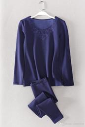 htgar Estilo longo macio respirável Mulheres Pijamas Rayon Casual Feminino Pajama Set Twinset Mulheres Homewear 2,019 conjunto underwear térmica de