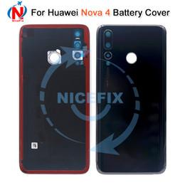 2019 sony xperia z1 pièces Pour huawei nova 4 Cache batterie Arrière de la porte en verre VCE-TL00 VCE-AL00 Boîtier arrière avec objectif pour appareil photo pour huawei nova 4