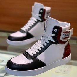 Белый высокий топ мужской кроссовки онлайн-New Fashion Мужская роскошная дизайнерская обувь для мужчин с высоким качеством натуральной кожи High Top ace кроссовки красный белый размер 38-45