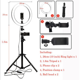 Trépied pour le téléphone et l'appareil photo en Ligne-26cm LED anneau boucle lumière photo Camera Video Studio pour un éclairage d'appoint Youtube Maquillage selfie avec trépied 1.6m Phone Holder
