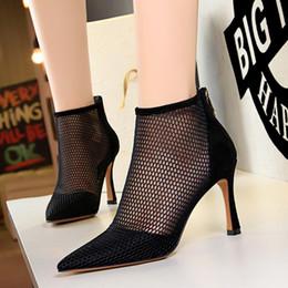 Scarpa da donna bootie online-Sexy meshy nero sottolineato pompe dimensioni donne di lusso del progettista scarpe caviglia bootie rosso kaki 34 a 40 prossimo con la scatola